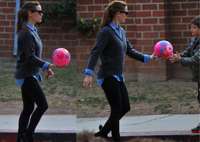 Jennifer Garner layers a sweater over a chambray top while out in Brentwood with her son