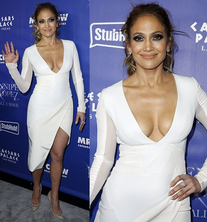 Jennifer Lopez accessorized withdiamond earrings and rings by Pasquale Bruni and Bavna