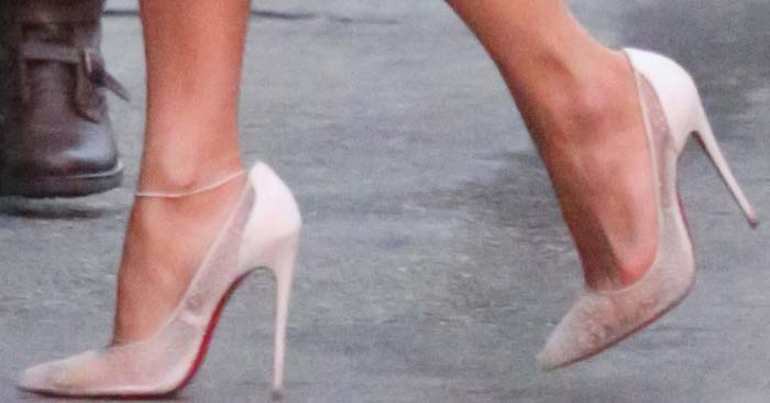 Jennifer Lopez's feet in lacy Christian Louboutin heels