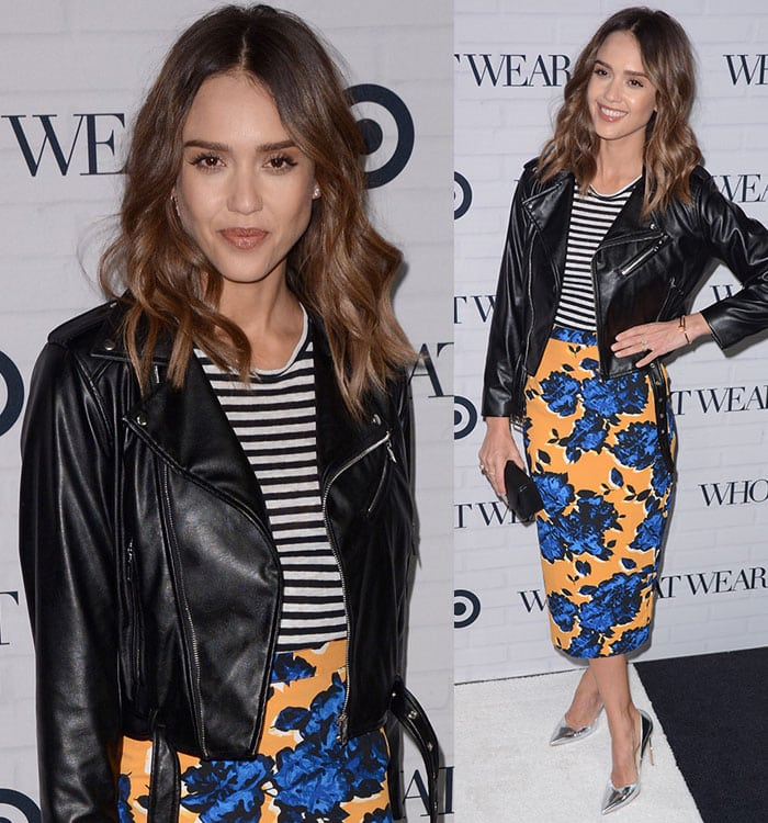 Jessica-Alba-Target-striped-top-leather-jacket-floral-skirt