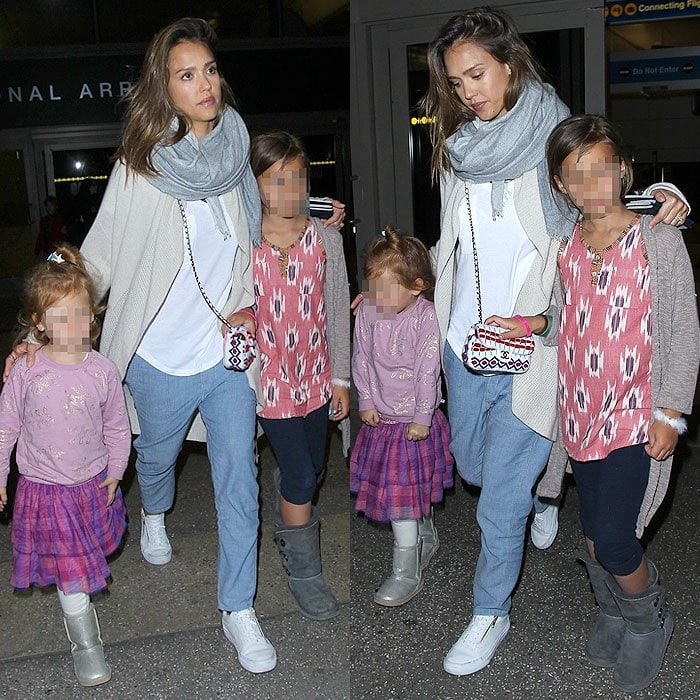 Jessica Alba arriving with her daughters at Los Angeles International Airport (LAX)