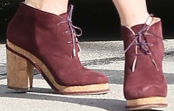 Jessica Biel's suede-and-cork lace-up boots from Chanel