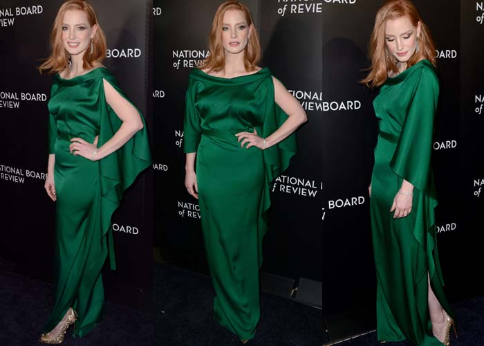 Jessica Chastain wears a satiny emerald dress from Carl Kapp