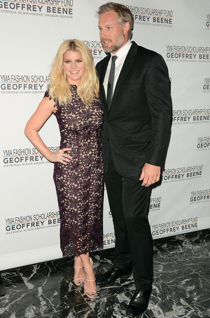 Jessica Simpson and husband Eric Johnson pose together for photos