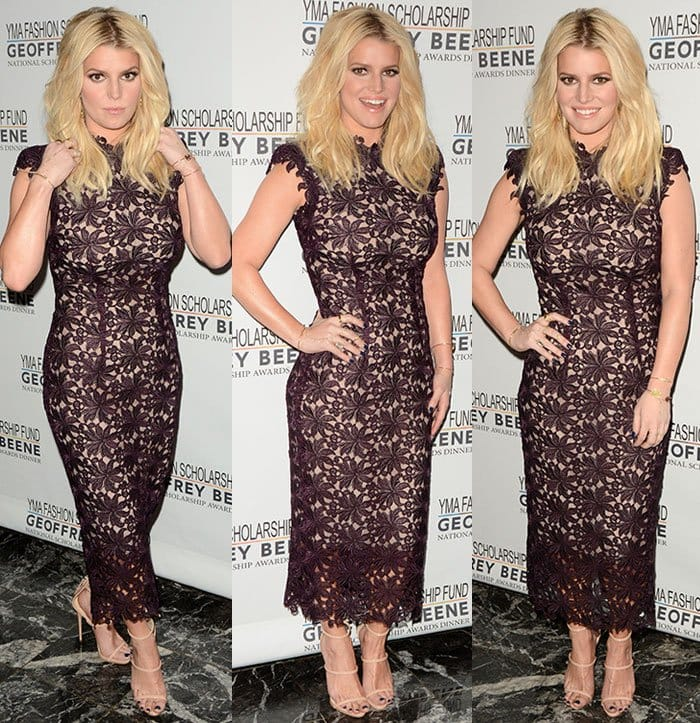 Jessica Simpson poses for photos at the YMA Fashion Scholarship Fund and Geoffrey Beene National Scholarship Awards Gala