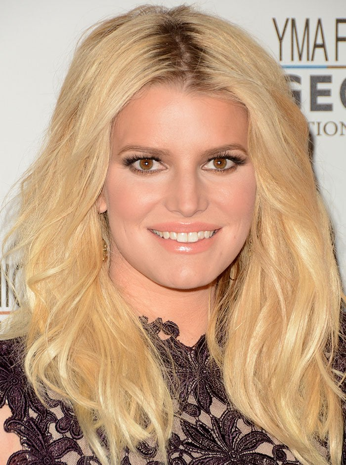 Jessica Simpson wears her blonde hair down at the YMA Fashion Scholarship Fund Geoffrey Beene National Scholarship Awards Gala