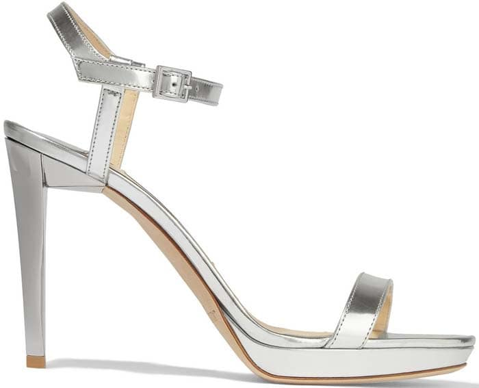"Jimmy Choo ""Claudette"" Mirrored-Leather Platform Sandals"