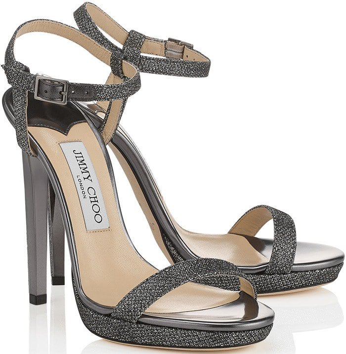 Jimmy Choo lamé glitter fabric platform ankle-wrap sandal