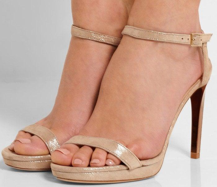 Jimmy Choo Claudette metallic suede platform sandals