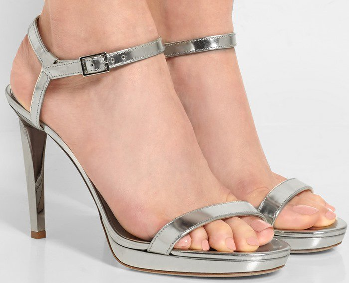 Jimmy Choo's 'Claudette' platform sandals are crafted from glossy silver mirrored-leather