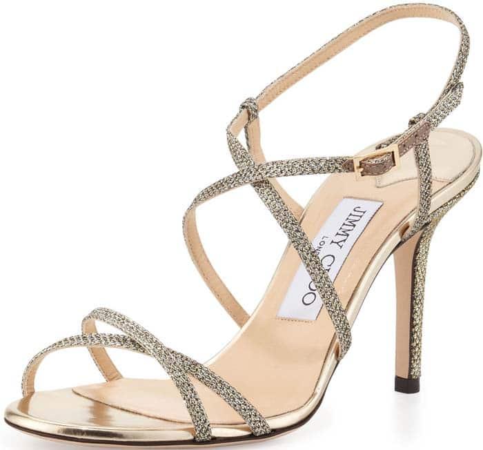 Jimmy Choo Elaine Glitter Sandal in Light Bronze
