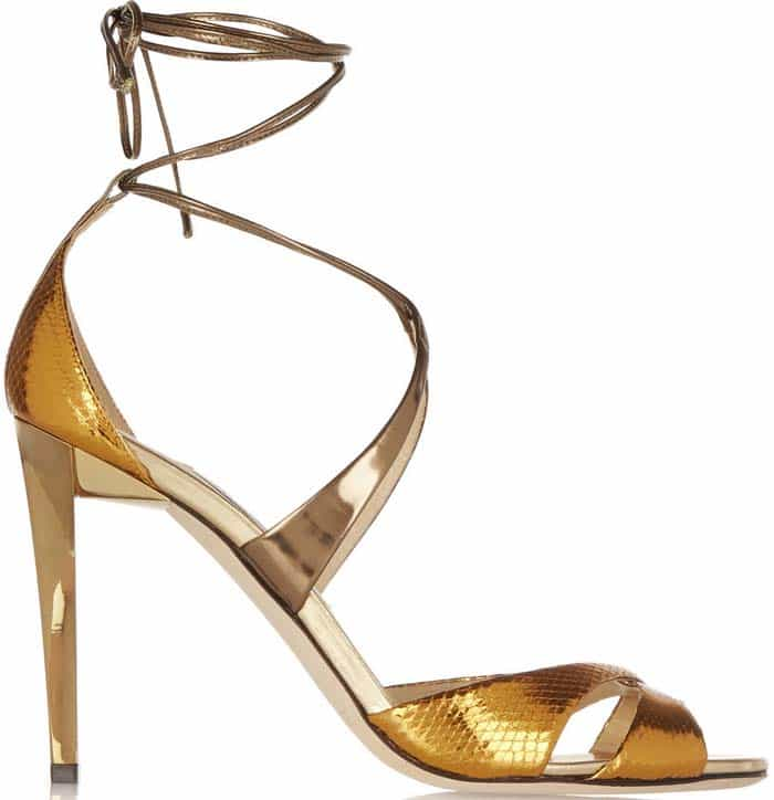 """Jimmy Choo """"Teira"""" Metallic Ayers and Mirrored-Leather Sandals"""
