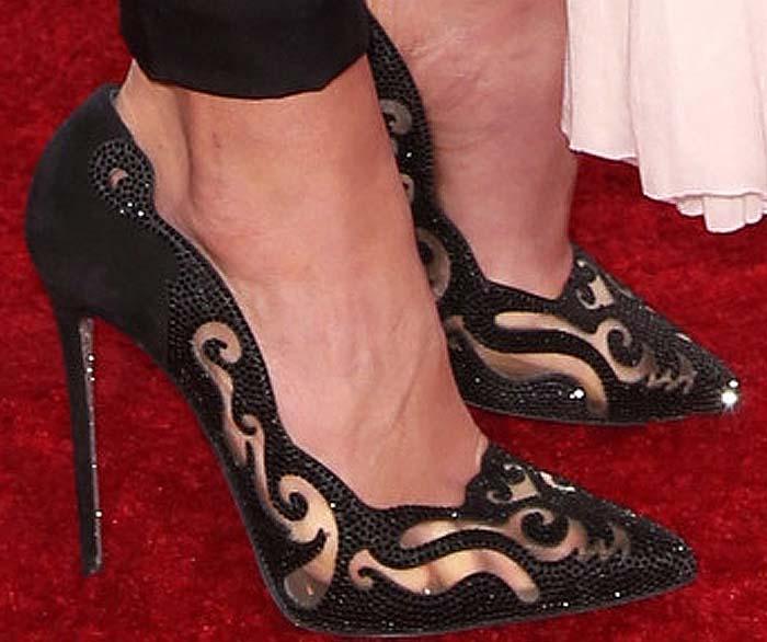 Jordana Brewster's feet in crystal-embellished Rene Caovilla pumps