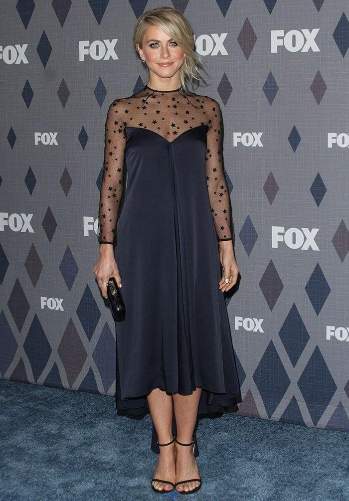 Julianne Hough wears a star-printed Monique Lhuillier dress
