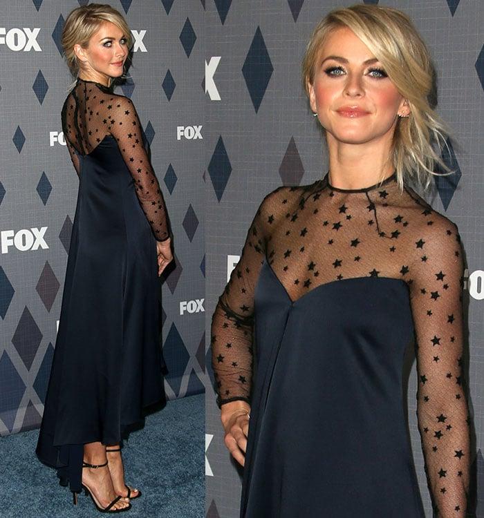 Julianne Hough shows off the high-low hem of her navy Monique Lhuillier dress