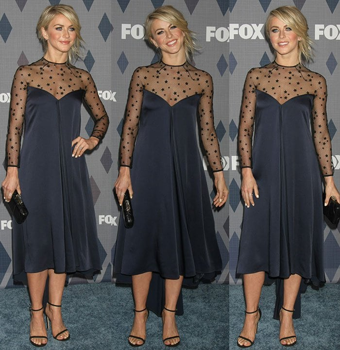 Julianne Hough accessorizes her Monique Lhuillier gown with EF Collection rings and a black Kotur clutch