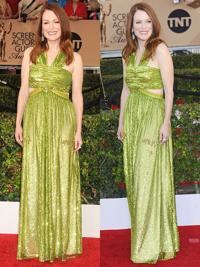 Julianne Moore wears a lime green Givenchy dress on the red carpet