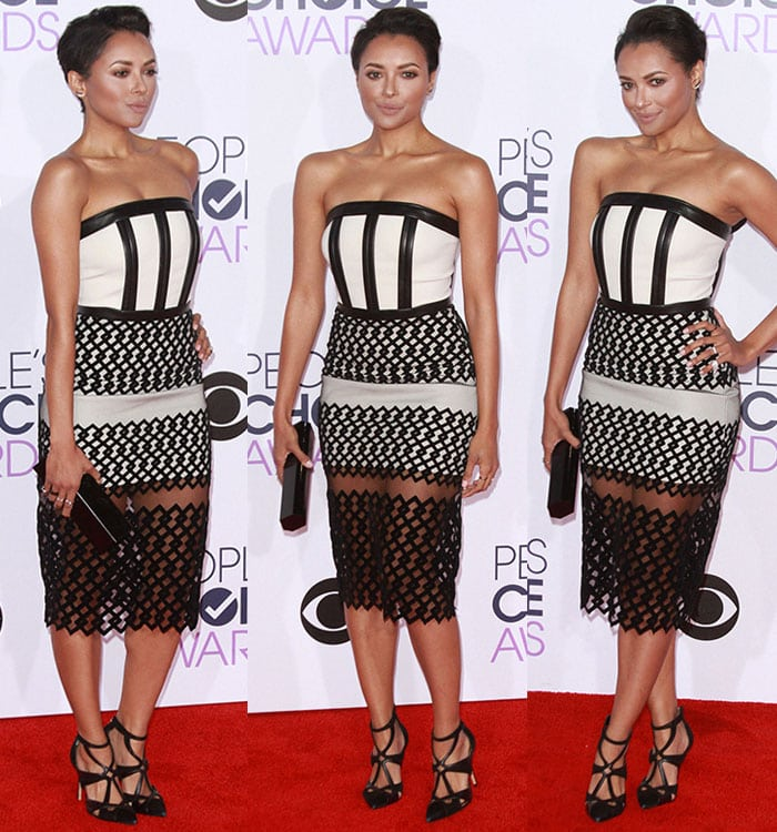 Kat Graham shows off her collarbone and toned arms in a David Koma dress