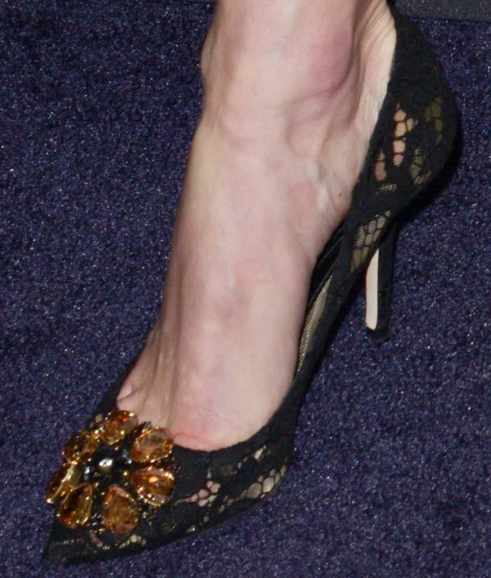 Kate Bosworth's feet in bejeweled Dolce & Gabbana heels