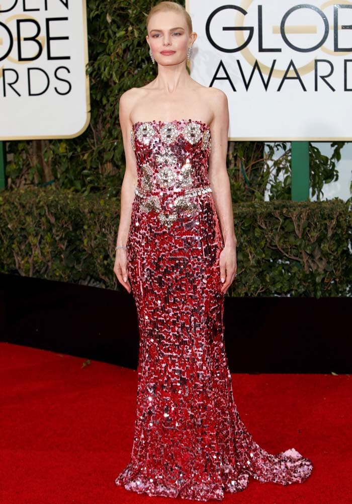 Kate Bosworth stuns in a sparkling floor-length gown from Dolce & Gabbana