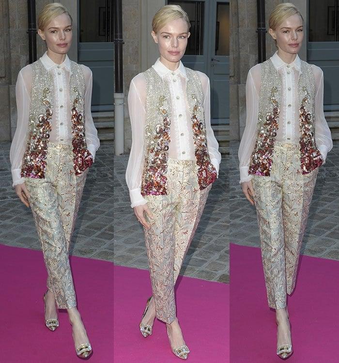 Kate-Bosworth-sheer-blouse-embellished-vest-pants