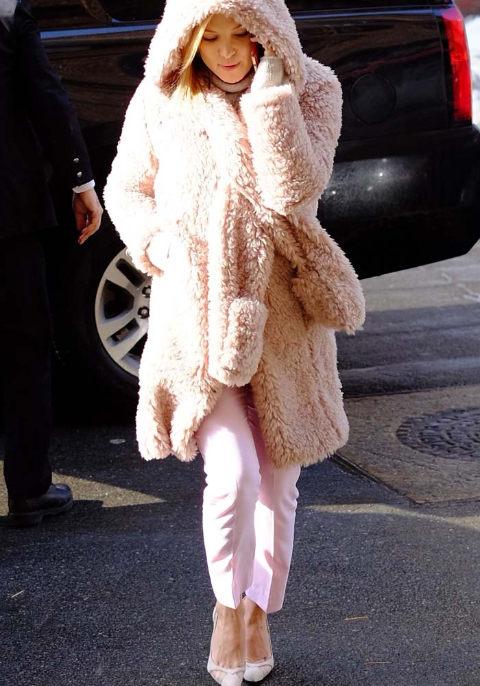 Kate Hudson covers up in a fuzzy Dawn Levy coat
