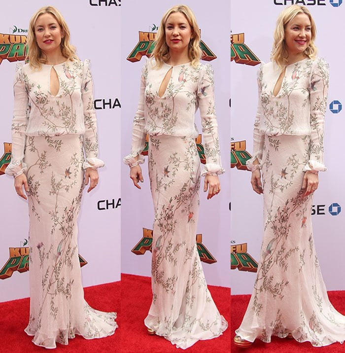 Kate-Hudson-white-floral-floor-sweeping-dress-keyhole