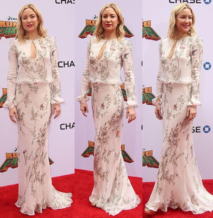 Kate-Hudson-white-floral-floor-sweeping-dress-keyhole