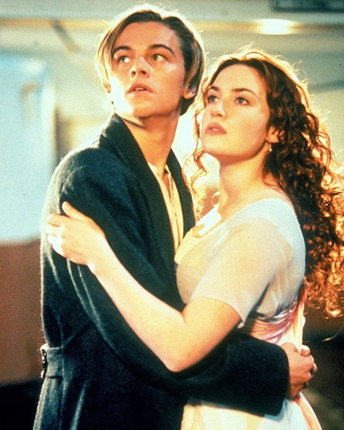 Leonardo DiCaprio and Kate Winslet as Jack Dawson and Rose DeWitt Bukater in the film Titanic