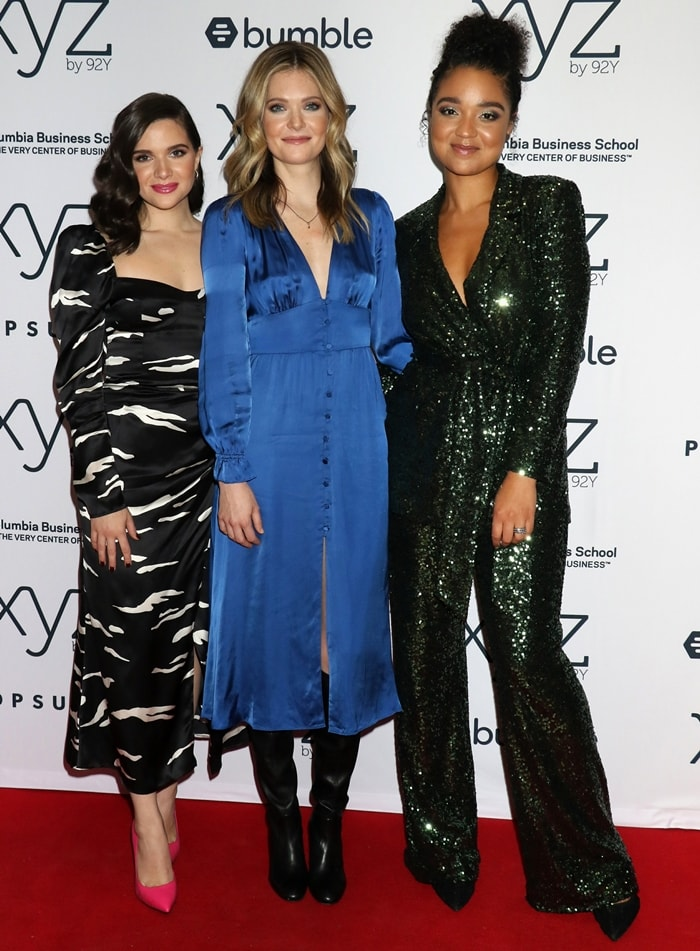 Katie Stevens, Meghann Fahy, and Aisha Dee promoting The Bold Type