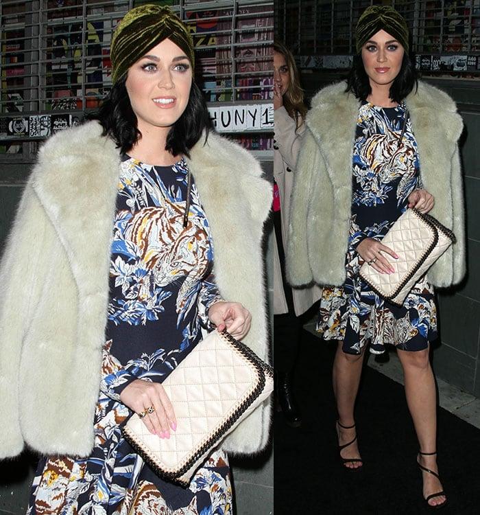 Katy-Perry-Stella-McCartney-fur-coat-floral-dress
