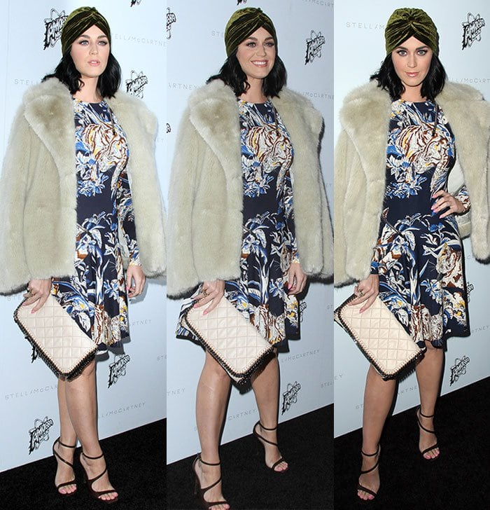 Katy-Perry-turban-blue-floral-dress-faux-fur-coat