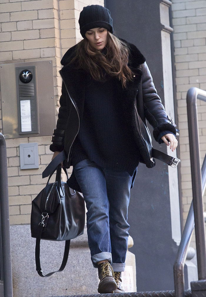 Keira Knightley rocked a heavy-duty Acne Studios black leather piece with shearling lining