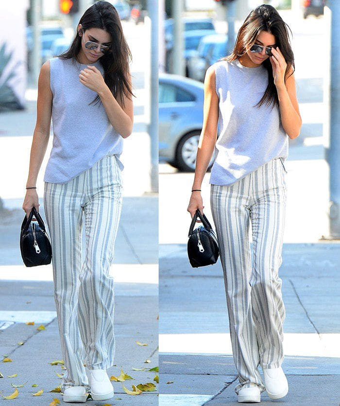 Kendall Jenner wears a striped Sally LaPointe ensemble out and about in Los Angeles