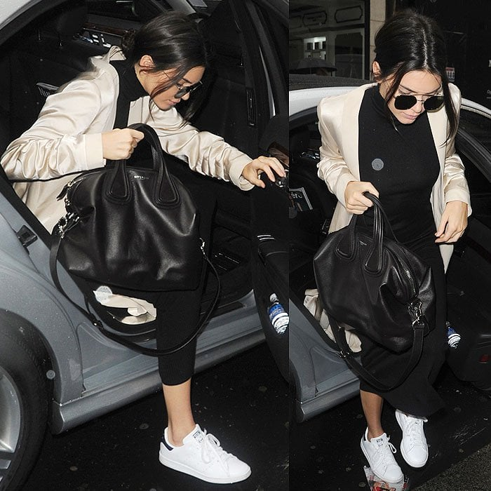 Kendall Jenner wears comfortable and clean white sneakers