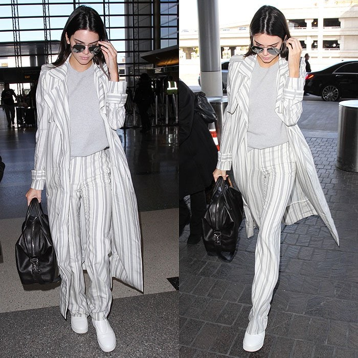 Kendall Jenner wears white shoes at Los Angeles International Airport (LAX)