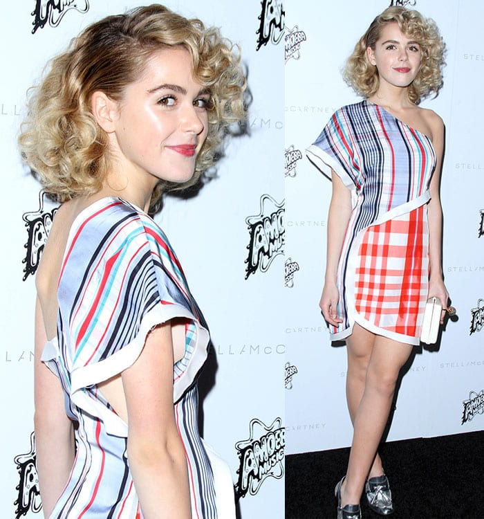 Kiernan Shipka goes retro with a funky Stella McCartney dress and a vintage curly hairstyle