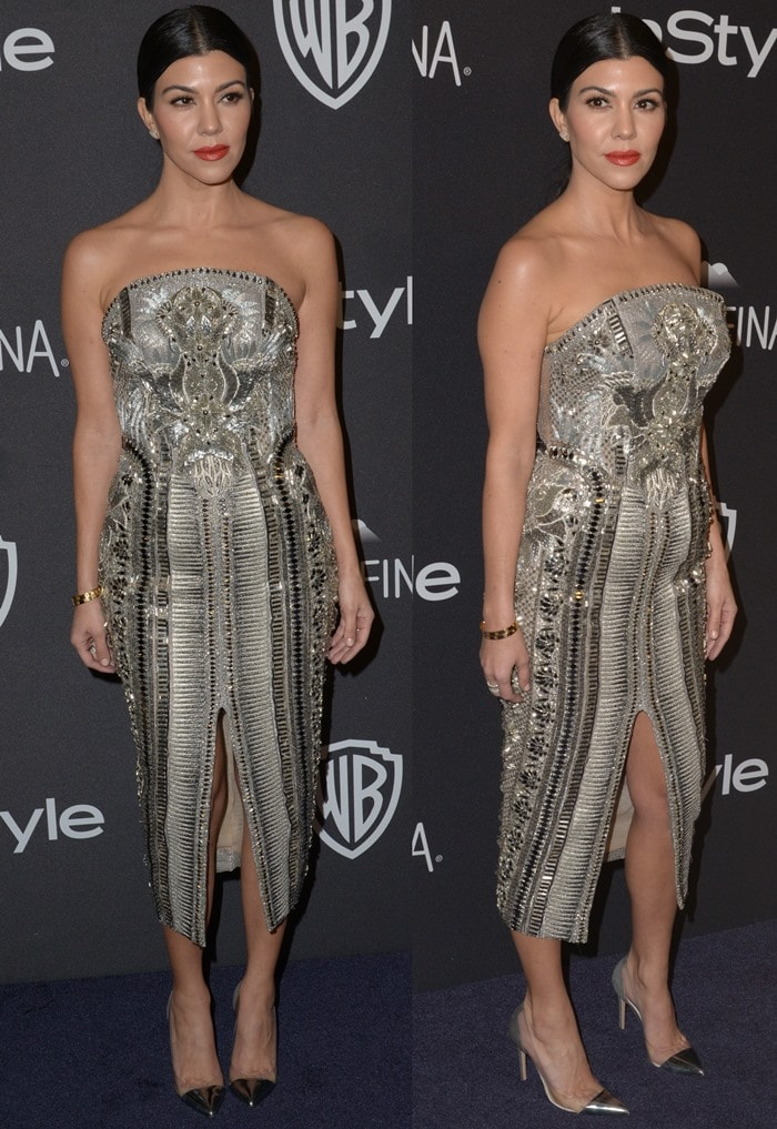 Kourtney Kardashian sparkles in an embellished silver Julien Macdonald dress