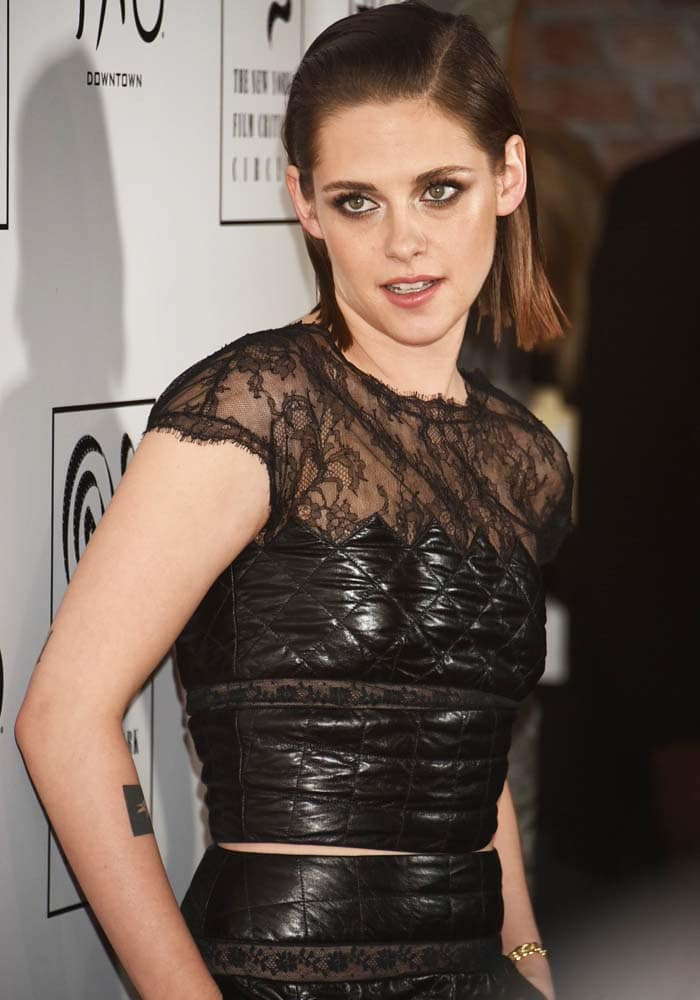 Kristen Stewart wears a black-and-lace Chanel look at the New York Film Critics Circle Awards