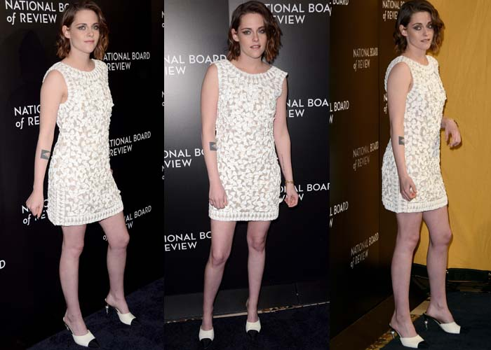 Kristen Stewart wears a beaded Karl Lagerfeld dress on the black carpet