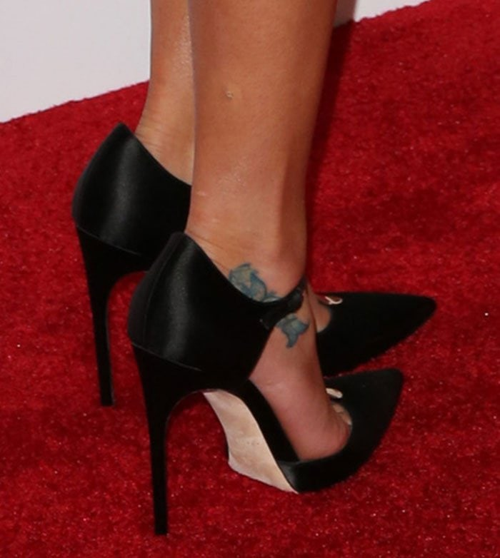 """Lea Michele shows off her foot tattoos in """"Astral"""" pumps"""
