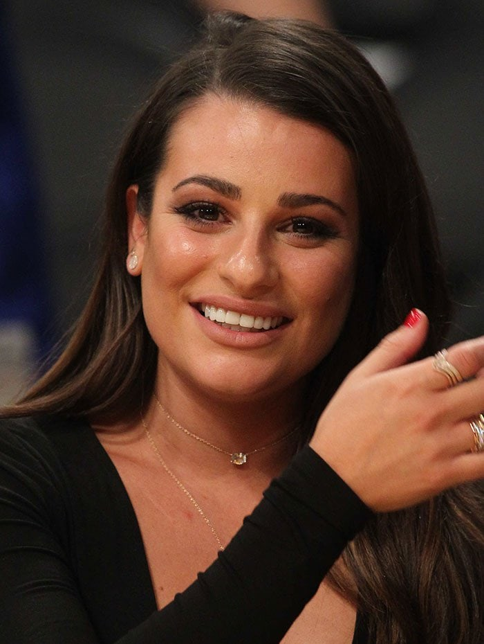 Lea Michele wore her wavy hair down over one shoulder