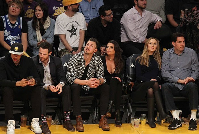 Matthew Paetz and Lea Michele did their best to focus on the game