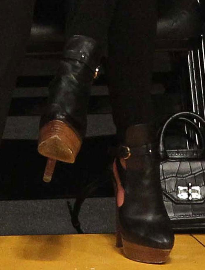 Lea Michele in Sergio Rossi boots
