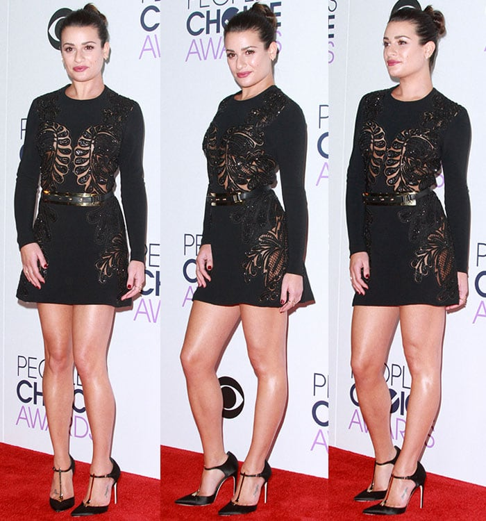 Lea-Michele-boobs-legs-black-beaded-lace-dress