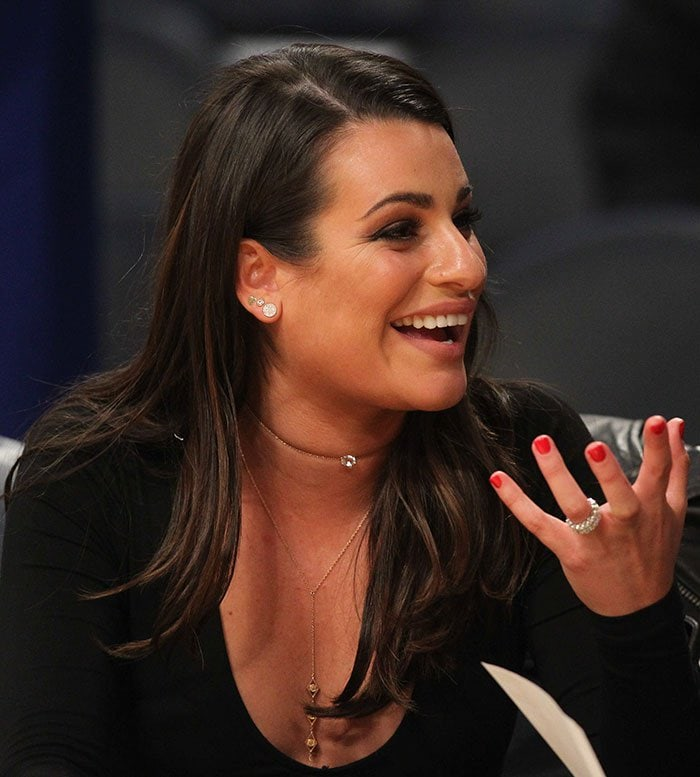 Lea Michele's choker necklace and gold body chain