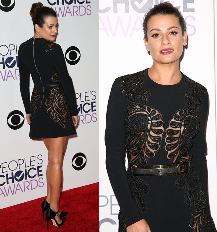 Lea Michele shows off her hair and dress on the red carpet