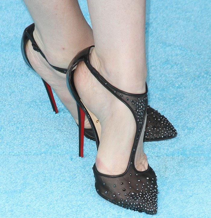 Leslie Mann's feet in crystal-embellished Christian Louboutin pumps
