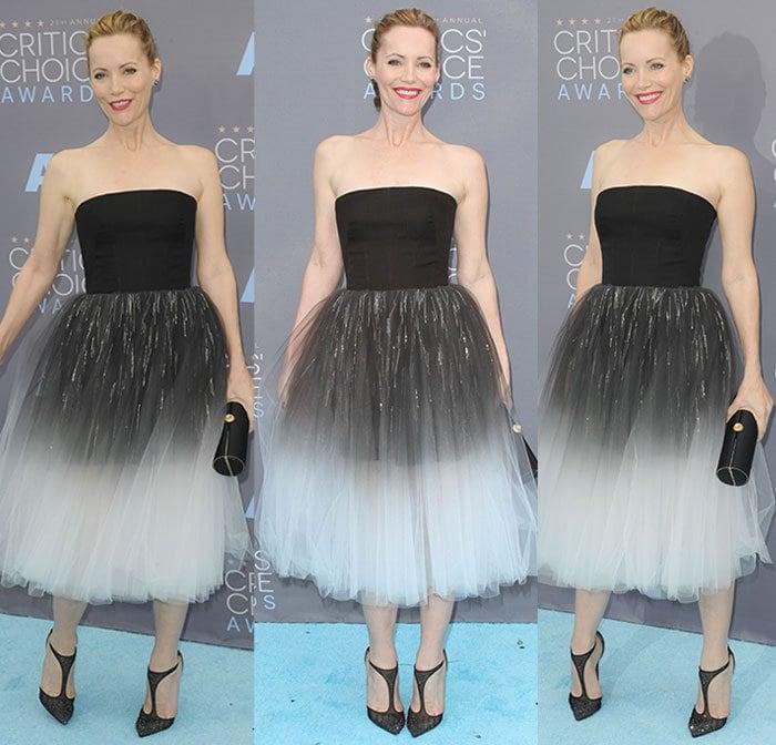Leslie-Mann-strapless-dress-black-white-ombre-tulle-skirt