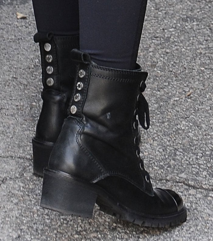 Lily Collins's feet in military-style Zadig & Voltaire boots